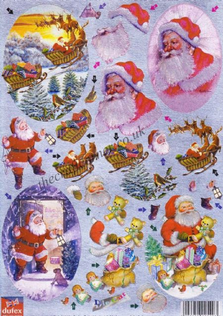 Father Christmas 3d Die Cut Decoupage Sheet From Dufex